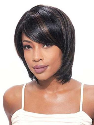 Black Lace Front Indian Remy Hair Cheap Medium Wigs