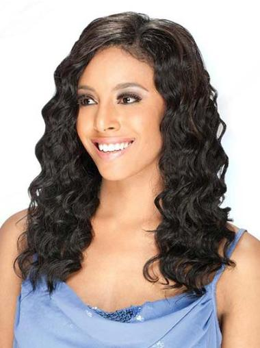 Shining Black Wavy Long Human Hair Lace Front Wigs