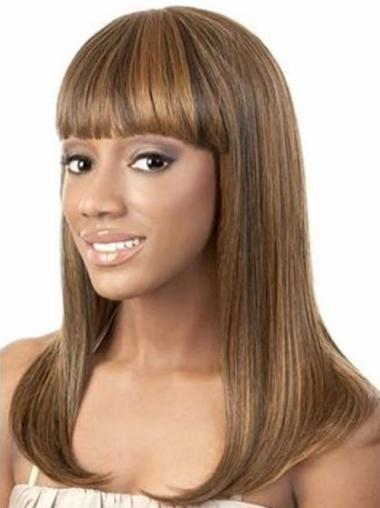 Tempting Brown Straight Shoulder Length African American Wigs