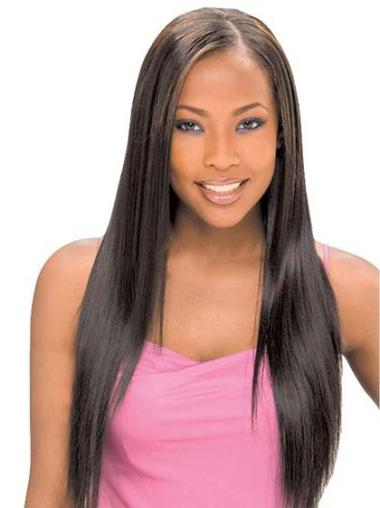 Elegant Black Straight Long Glueless Lace Front Wigs