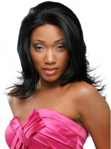 Graceful Black Wavy Long Glueless Lace Front Wigs