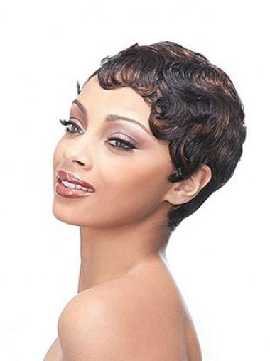 Brown Nice Boycuts Wavy Short Wigs