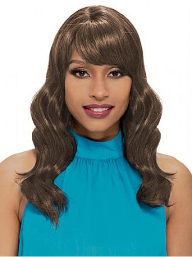 Convenient Brown Wavy Shoulder Length African American Wigs