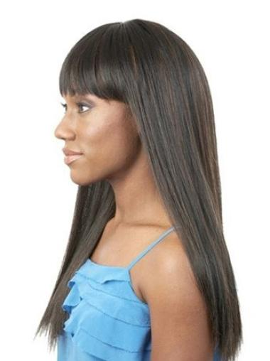 Exquisite Black Straight Long African American Wigs