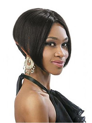 Traditiona Black Straight Chin Length Lace Wigs