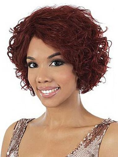 Preferential Red Wavy Chin Length African American Wigs