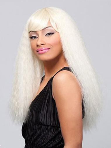 Graceful Blonde Straight Long African American Wigs