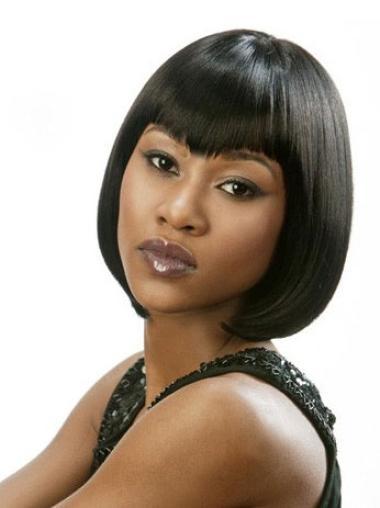Impressive Black Lace Front Chin Length Lace Wigs