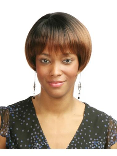 Fashionable Auburn Straight Short African American Wigs