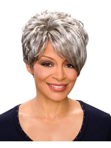 Elegant Wavy Short Synthetic Grey Wigs
