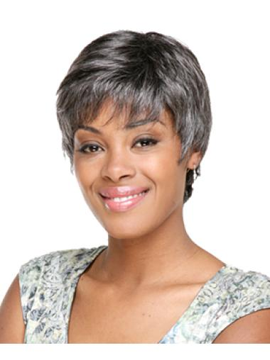 Wholesome Wavy Short Synthetic Grey Wigs