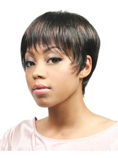 Designed Brown Straight Cropped African American Wigs