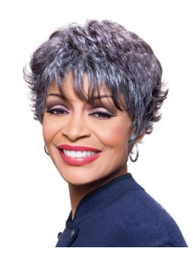 Cheap Wavy Short Synthetic Grey Wigs