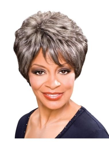 Tempting Wavy Short Synthetic Grey Wigs