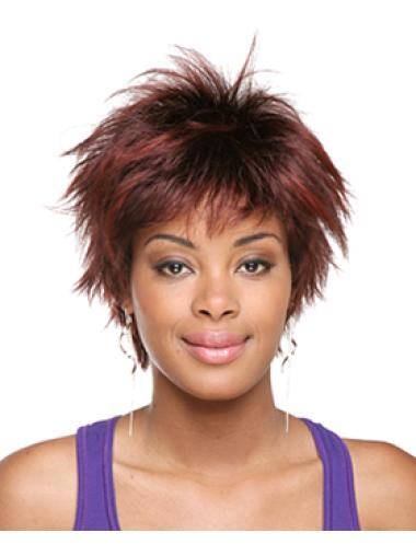 Tempting Red Straight Short African American Wigs