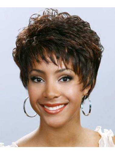 Fashionable Brown Wavy Short African American Wigs