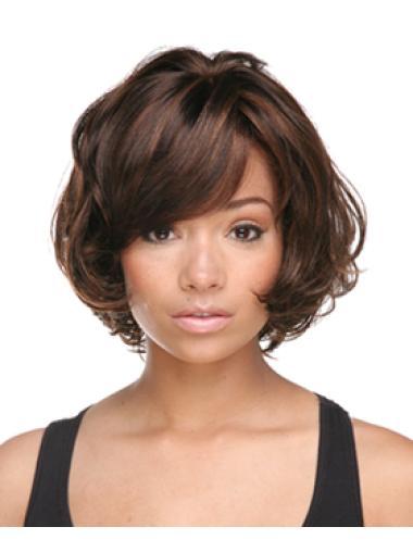 Easeful Auburn Wavy Chin Length African American Wigs