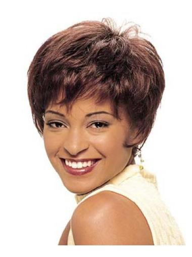 Stylish Auburn Straight Cropped African American Wigs