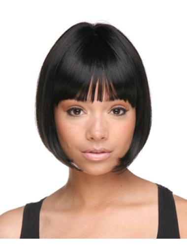 Gentle Black Straight Chin Length African American Wigs