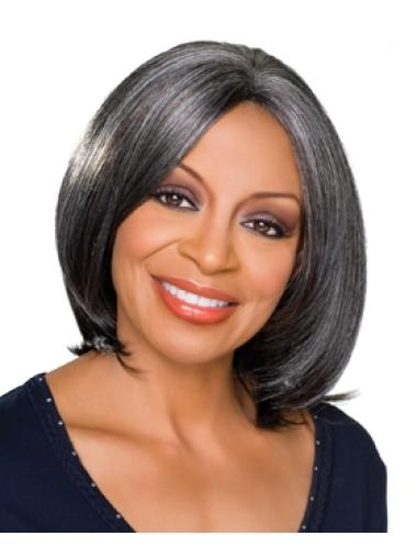 Online Chin Length Synthetic Grey Wigs
