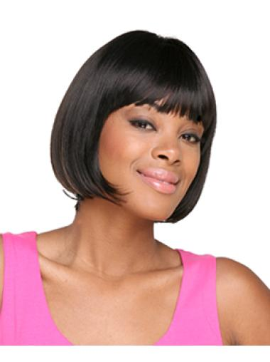 Fabulous Black Straight Chin Length African American Wigs