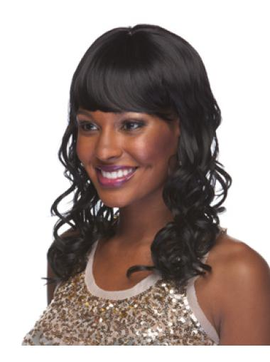 Mature Black Curly Shoulder Length African American Wigs