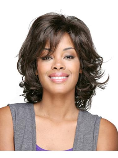 Brown Fashion Curly Synthetic Medium Wigs