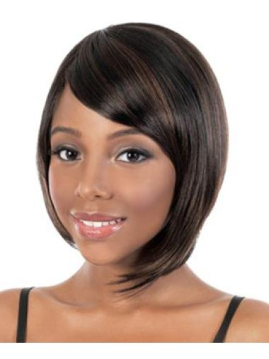 Tempting Brown Straight Chin Length African American Wigs