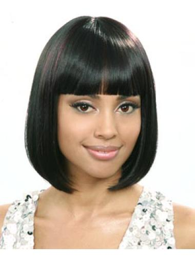 Discount Black Straight Chin Length African American Wigs