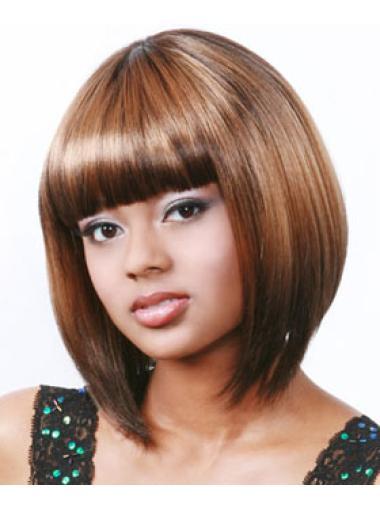Faddish Auburn Straight Chin Length African American Wigs