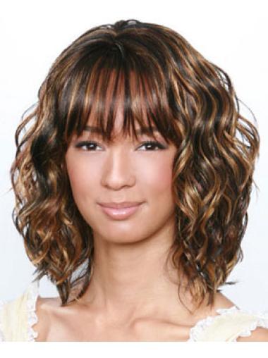 Online Brown Curly Shoulder Length African American Wigs