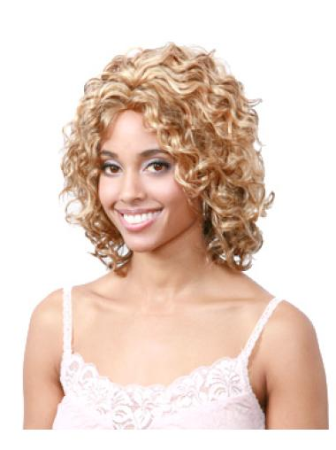 Faddish Blonde Curly Chin Length African American Wigs