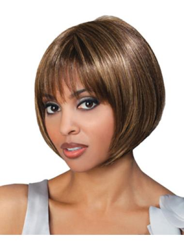 Best Brown Straight Chin Length African American Wigs