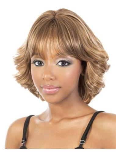 Suitable Blonde Curly Chin Length African American Wigs