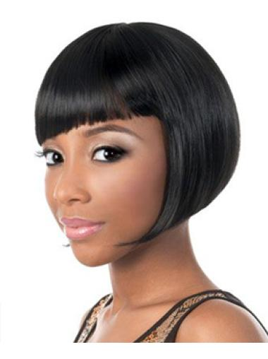 Faddish Black Straight Short African American Wigs