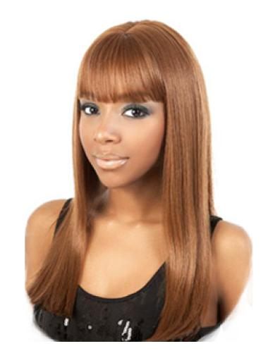 Unique Brown Straight Long African American Wigs
