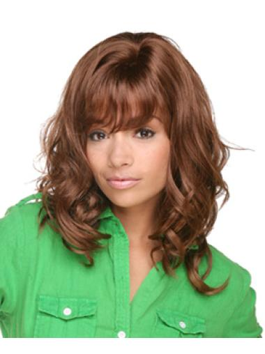 No-fuss Brown Curly Shoulder Length African American Wigs