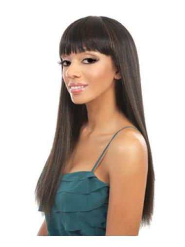 Easy Brown Straight Long African American Wigs