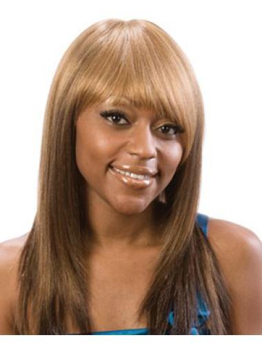 Elegant Blonde Straight Long African American Wigs