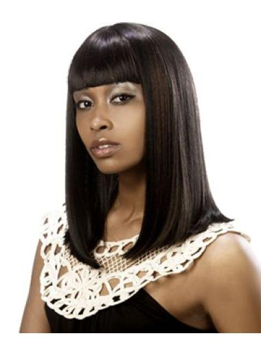 High Quality Brown Straight Shoulder Length African American Wigs