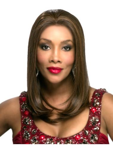 Pleasing Brown Straight Long Glueless Lace Front Wigs
