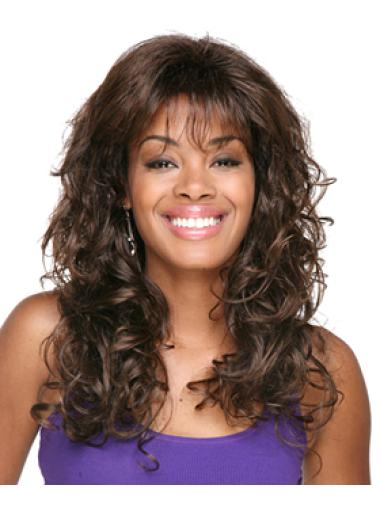 Sleek Brown Curly Long African American Wigs