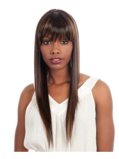 Brown Straight Long African American Wigs
