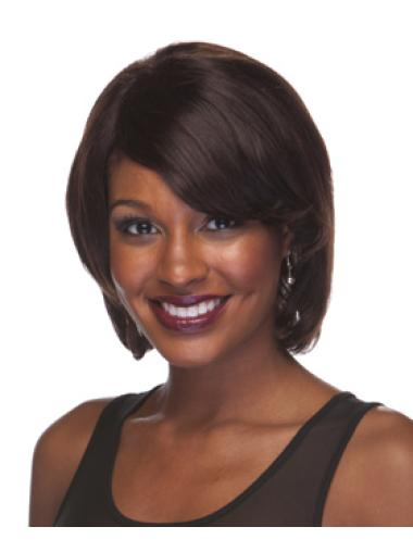 Trendy Brown Straight Chin Length African American Wigs