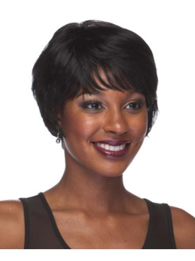 Convenient Black Straight Short African American Wigs