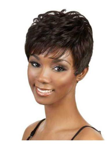 Exquisite Brown Wavy Short African American Wigs