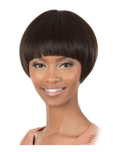 Glamorous Brown Straight Short African American Wigs