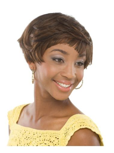 Gorgeous Brown Wavy Short African American Wigs