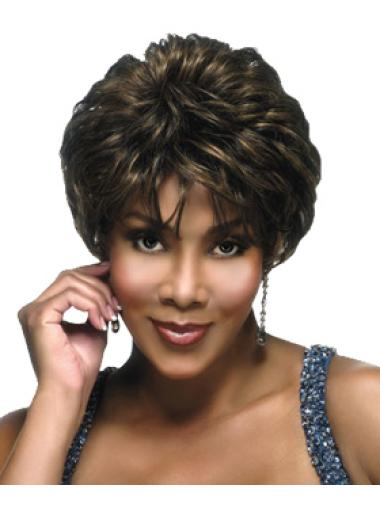 Easeful Brown Wavy Cropped African American Wigs