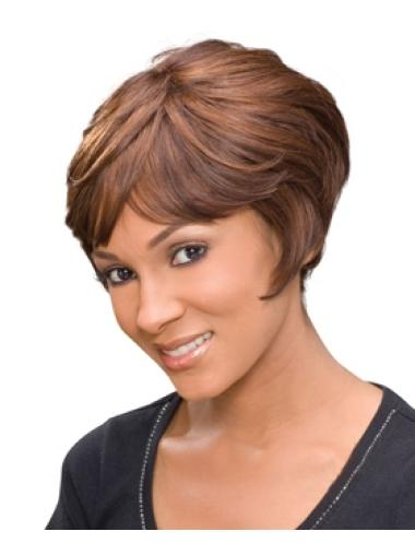 Cheap Auburn Wavy Short African American Wigs